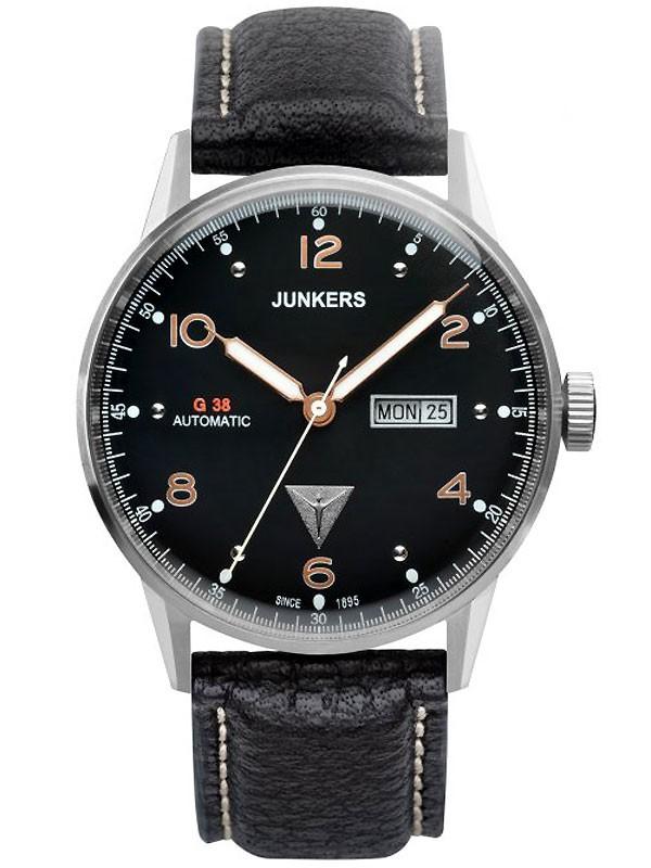 Junkers G38 6966-5 Day-Date Automatik silber, schwarz 10 ATM 42 mm