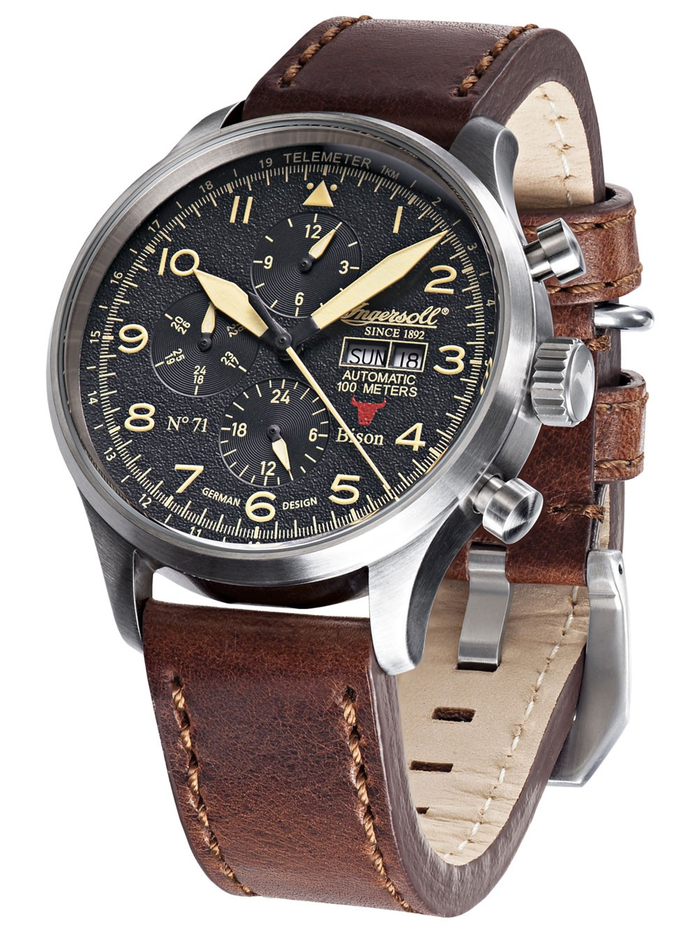 Ingersoll IN1513SBK Bison No. 71 Automatik Herren 45mm 10ATM