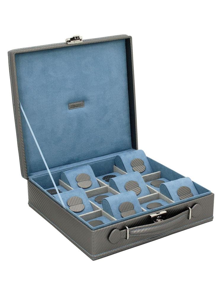 Friedrich|23 Ceas cutie 32054-9 Carbon f. 12 Ceasuri gri albastru