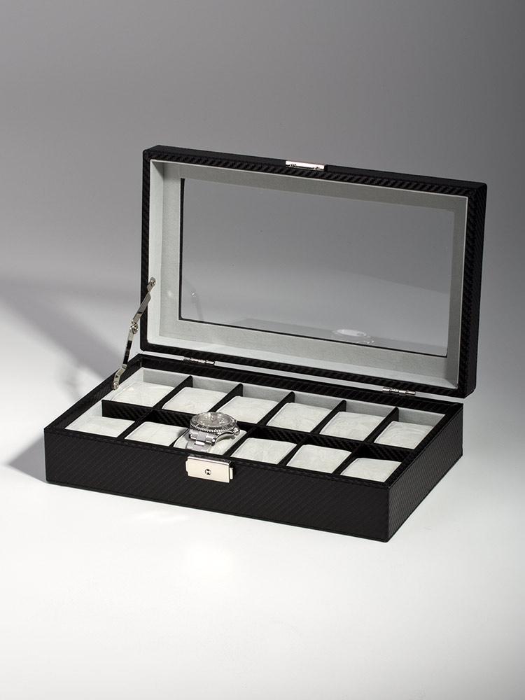 Rothenschild Ceas cutie RS-1098-12CFBL pentru 12 Ceasuri carbon