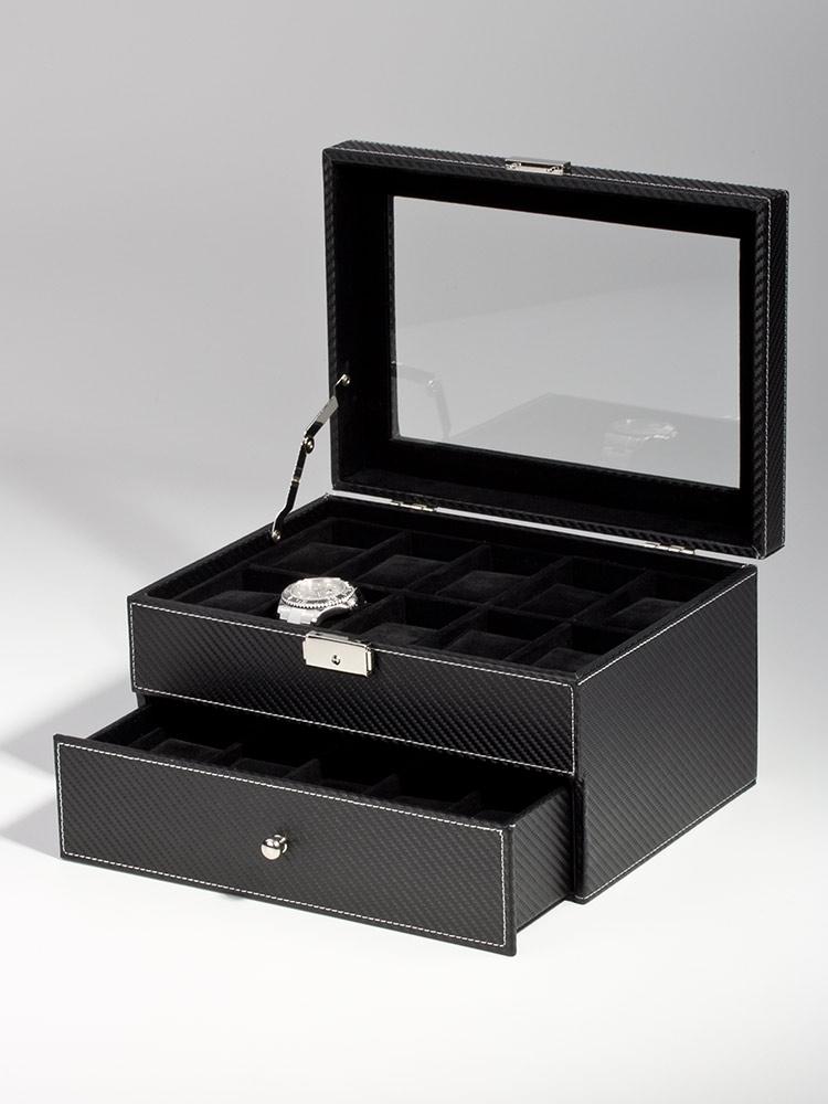 Rothenschild Ceas cutie RS-1683-20CFBL pentru 20 Ceasuri carbon