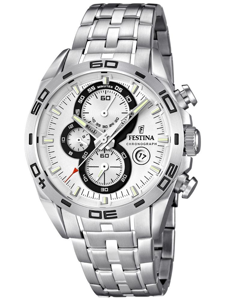 Festina Sport F16654/1 Chronograph Argintiu 44 Mm 10 Atm
