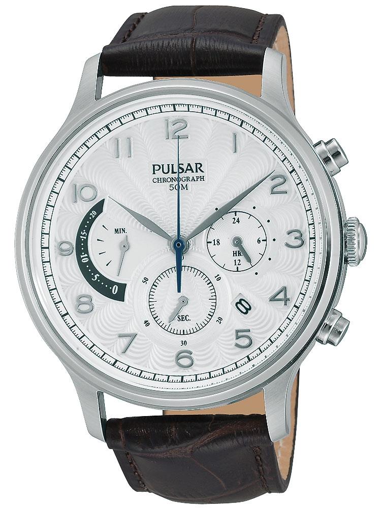 Pulsar PU6015X1 Klassik Chronograph Herren 50M 44mm Silber