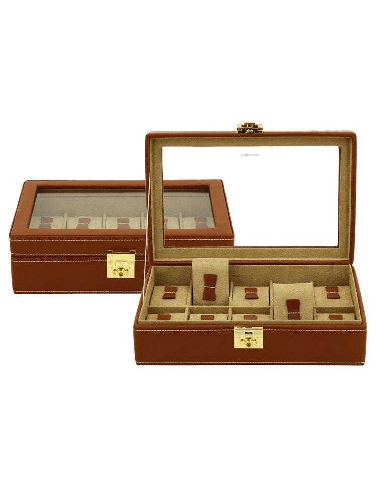 Friedrich|23 Uhrenkasten 26215-3 Leder f. 10 Uhren braun