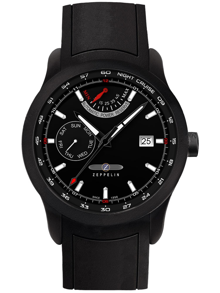 Zeppelin Night Cruise 7260-2 Herren Autom. Powerreserve schwarz 43 mm 10ATM