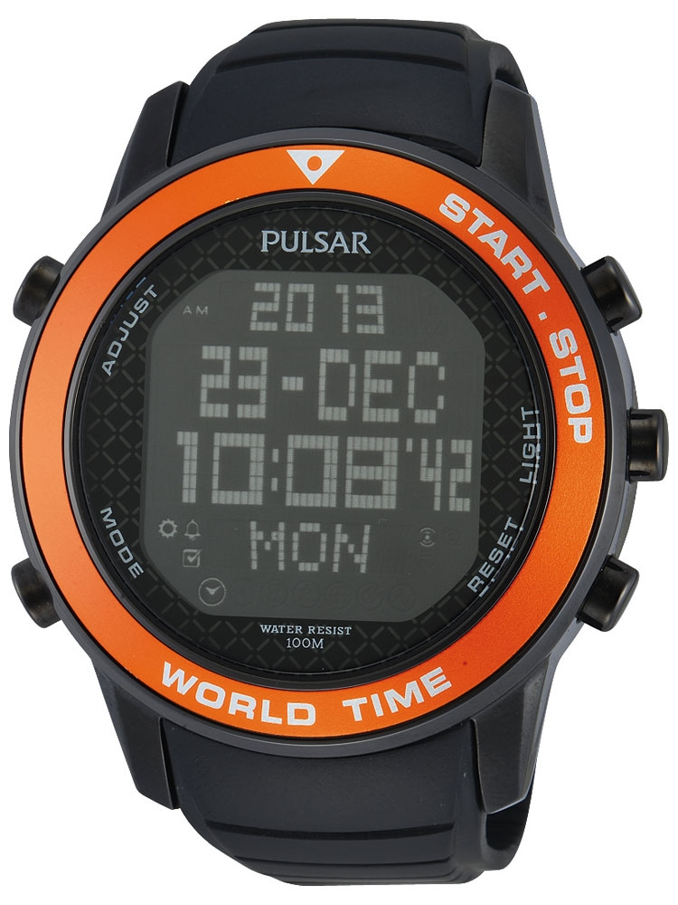 Pulsar PQ2031X1 Digital Worldtimer Chrono 48 mm 100M