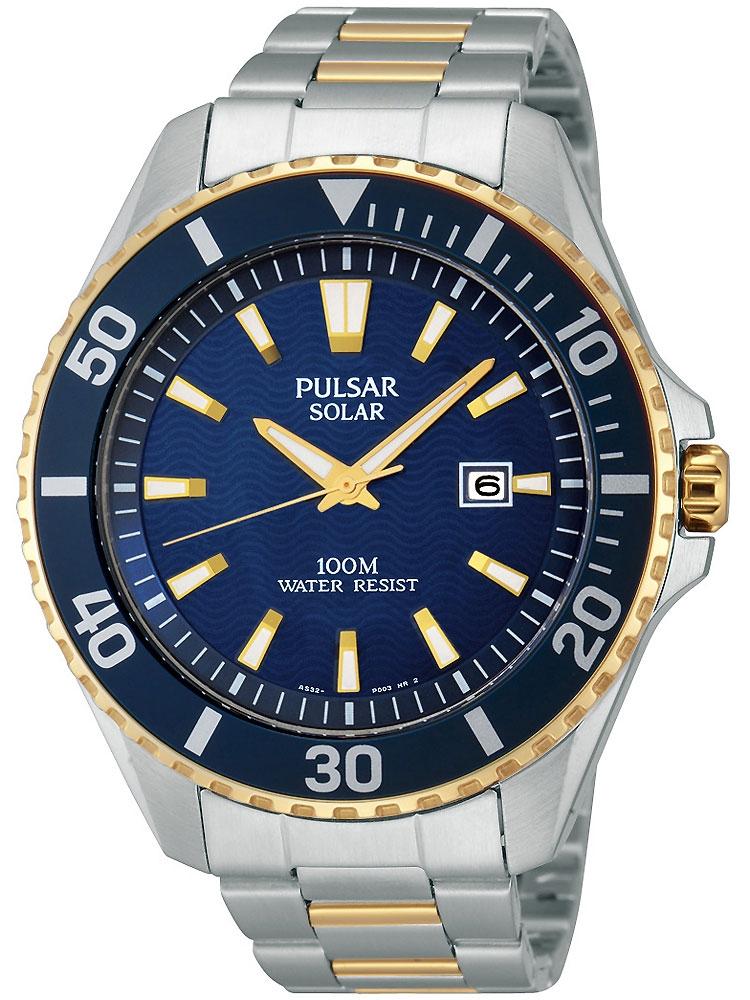 Pulsar PX3032X1 sportliche Solar Herren Armbanduhr 100M 44mm bicolor