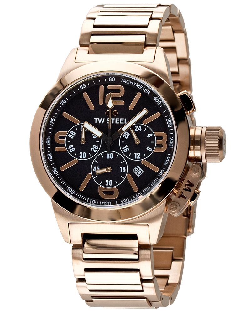 TW-Steel TW307 Unisex Chronograph ZB schwarz-rotgold, Edelstahl rotgold 10 ATM 40 mm