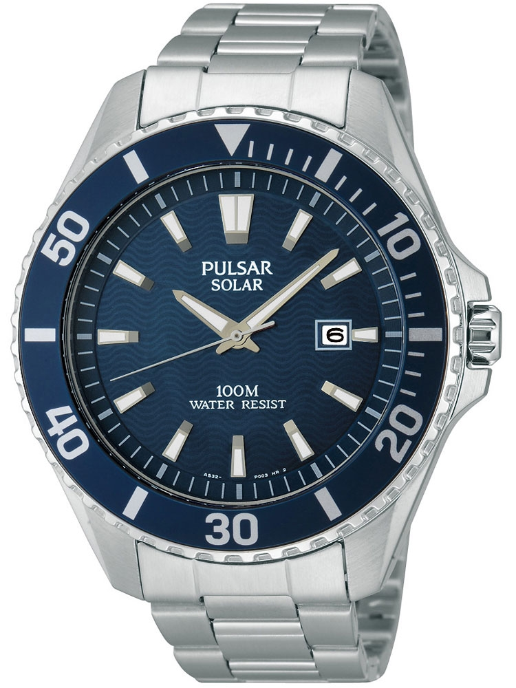 Pulsar PX3033X1 sportliche Solar Herren Armbanduhr 100M 44mm blau