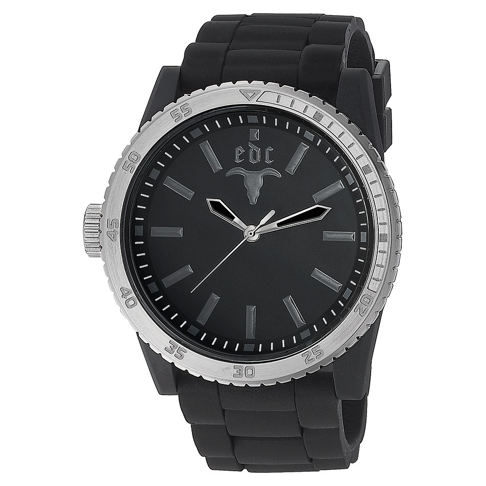 edc by Esprit EE100831002 Rubber Star Midnight Black Silver Herrenuhr