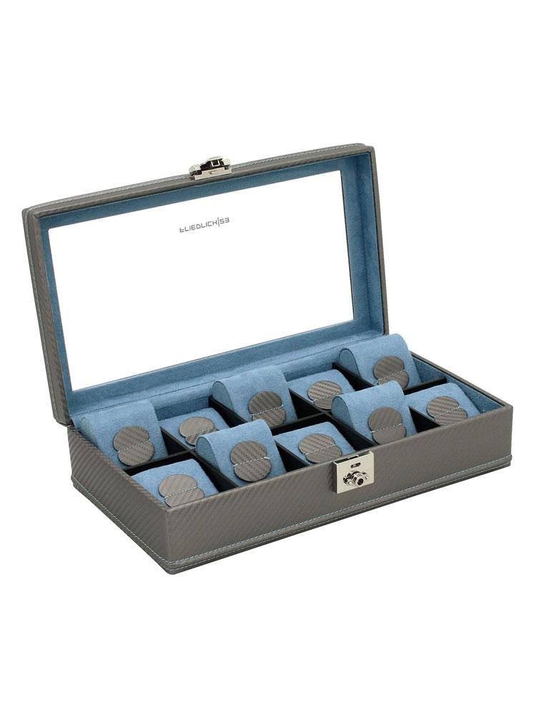 Friedrich|23 Ceas cutie 32048-9 Carbon f. 10 Ceasuri gri, albastru