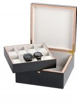 Ceas: Cutie lemn ceasuri + bijuterii  Rothenschild RS-5598-8 pentru 8 bucati carbon-gri