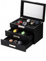Ceas: Cutie Lemn Negru Rothenschild  RS-2350-30BL Pentru 30 Ceasuri