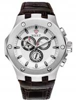 Ceas: Ceas barbatesc V.O.S.T. Germany V100.005.CS.SS.L.S Cronograf MECANISM 8171/202, ISA, SWISS-MADE Curea Piele 44MM 20ATM