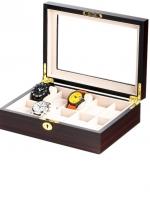 Ceas: Cutie ceasuri lemn/sticla Rothenschild RS-1087-10E pentru 10 ceasuri