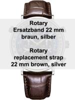 Ceas: Rotary Ersatz-Lederarmband braun 22 mm Ref. 29163