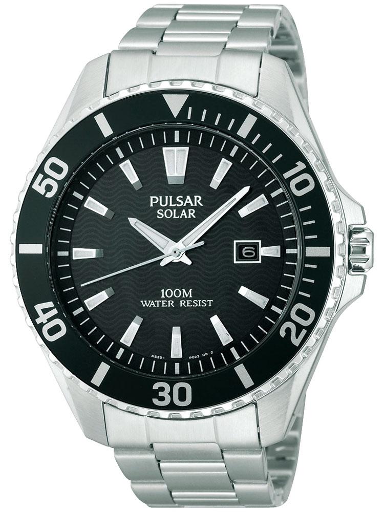 Pulsar PX3035X1 sportliche Solar Herren Armbanduhr 100M 44mm schwarz